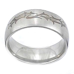 Men's 316L Stainless Steel Etched Tribal Design 10 mm Ring Band