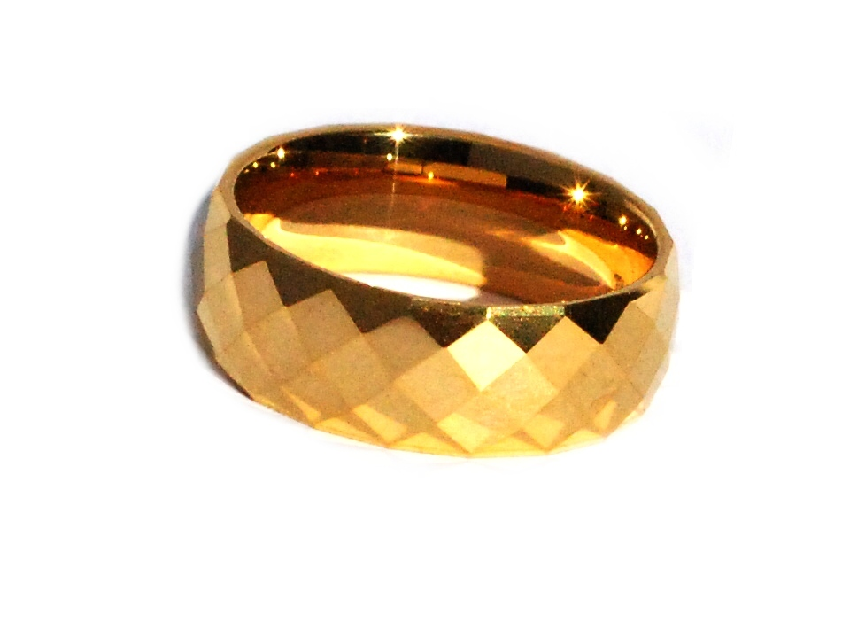 Tungsten Carbide 8 Mm 24k Gold Plated Multi Faceted Band Ring