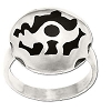 925 Sterling Silver Tribal Design On Disk Ring