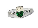 Sterling Silver Celitc Claddagh Lover Green CZ Cubic Zirconia Ring