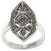 Sterling Silver Genuine Marcasite Geometric Design Ring