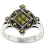 Sterling Silver  Genuine Marcasite Quad-Stone Center Ring