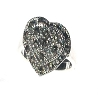 Sterling Silver Genuine Marcasite Double Heart Ring
