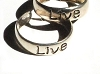 New Sterling Silver toe rings engraved with the word LIVE