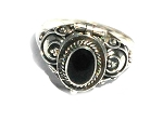 Sterling Silver Bali Thin Oval Black Onyx Poison Ring