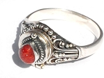 Sterling Silver Bali Red Coral Poison Ring