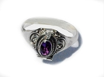 Sterling Silver Poison Ring with Oval Shape Amethyst CZ Cubic Zirconia