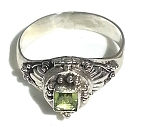 Sterling Silver Bali Emerald  Cut Peridot Poison Ring