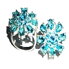 Sterling Silver Large Aqua Blue Flower 17 CZ Cubic Zirconia Ring