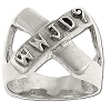 Sterling Silver Men's W.W.J.D? (What Would Jesus Do?)? Cross Ring