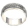 Sterling Silver Bali Twin Rope Mens Spinner Ring