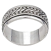 Sterling Silver Bali  Dash Edge Twin Center Mens Spinner Ring