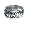 Sterling Silver Mens Braided Rope Band Spinner Ring