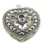 Sterling Silver Bali Heart Prayer Box Pendant with Amethyst