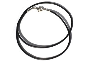 New 18.5 Inch Black Rubber 2mm Necklace with 4mm Jump Ring
