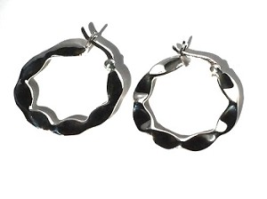 Sterling Silver Twisted Wavy Ribbon Hoop Earrings