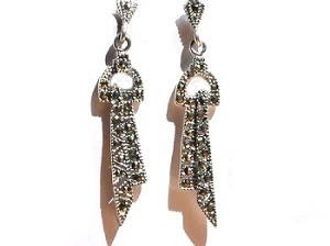 Sterling Silver Genuine 44 Marcasite Stone Dangle Earrings