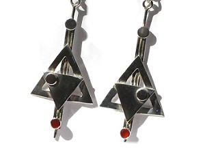 Sterling Silver Genuine Stone Art Deco Dangle Earrings