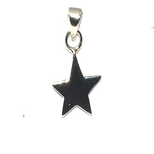 Sterling Silver 925 Flat Polished Star Charm Pendant