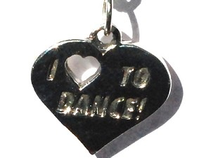 Sterling Silver I Heart (love) to Dance Charm Pendant