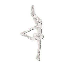 Sterling Silver Ice Skater Dancer Starting Spin Charm Pendant.