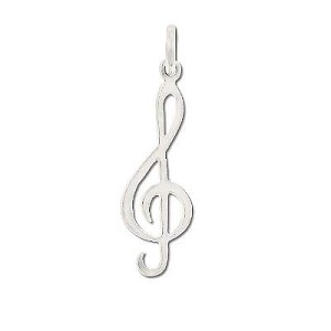 Sterling Silver G4 G-Clef Musical Note Charm Pendant