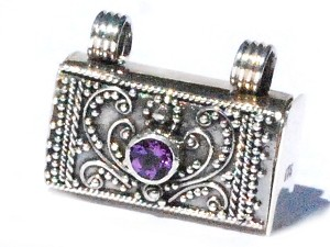 Sterling Silver Bali hand-made facet Amethyst prayer box pendant