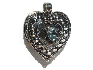 Sterling Silver Bali Heart Prayer Box Pendant with Blue Topaz