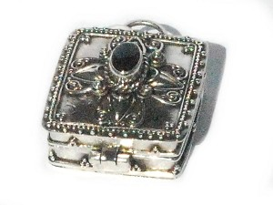 Sterling Silver Balinese Square Prayer Box Pendant with Black Onyx