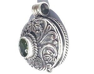 925 Sterling Silver Balinese Round Prayer Box Pendant with CZ Peridot