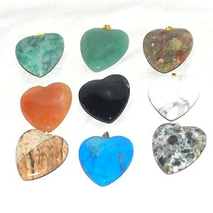 Hand carved Puff Heart Genuine Stone Charm Pendants - assorted Stones