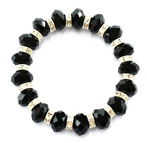 Black Faceted Abacus Glass Beads Stretch Bracelet with Rhinestone