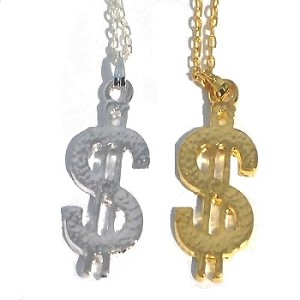 Dollar Sign $ Chain Necklace Pendants Sold by the Dozen -Cha-Ching