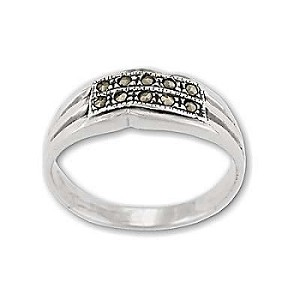 Sterling Silver 10 Marcasite Genuine Stone Band Ring