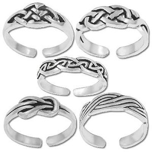 Sterling Silver Assorted Celtic Toe Rings Sold by the Piece