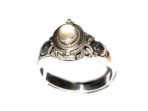 Sterling Silver thin Poison Ring with Stimulated MoonStone
