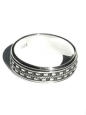 Sterling Silver Bali  Dash Edge  Mens Spinner Ring