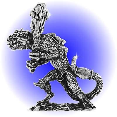 Militant Lizard Pewter FIGURINE - Lead Free.