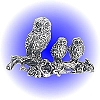 Owl Family Pewter Figurine - Lead Free