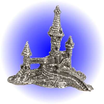 Castle Tower with Moat Pewter FIGURINE - Lead Free.