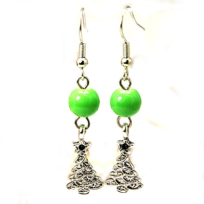 CHRISTMAS Tree Earrings With Lime Green Glass Bead