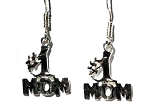 Sterling Silver Diamond Cut Number # 1 Mom Dangle Earrings
