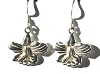 Sterling Silver Inverted Iris Blossom and Leaves Dangle Earrings