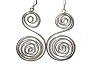 Sterling Silver Large S Swirl Dangle Earrings