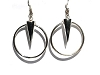 Sterling Silver Large Dangling Cone In Hoop Earrings