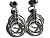 Sterling Silver Layered Triple Hoop Post Dangle Earrings