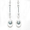 Sterling Silver Barbell And 10mm Puffball Dangle Earrings