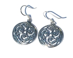 Sterling Silver Celtic Encircled Triple Trinity Knotted Dangle Earrings.