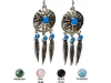 Sterling Silver Native Sun Sheild w Feathers & Stones Dangle Earrings