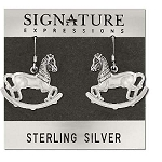 Sterling Silver Rocking Horse Dangle Earrings